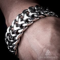 25mm Mens Heavy Sterling Silver Herringbone Bracelet.