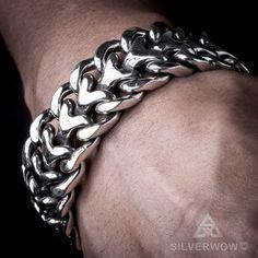 25mm Mens Heavy Sterling Silver Herringbone Bracelet.