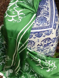 {Asian Influence} Cotton + Quill's Koi pattern in Emerald printed on Silk