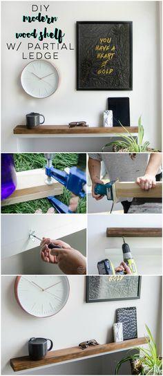 DIY Thin Modern Wood Shelf (With Partial Ledge)