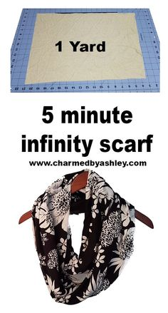 Scarf sewing pattern - Learn how to make a 5 minute infinity scarf 1 yard and 1 sewing machine with Charmedbyashley com – Scarf sewing pattern Sewing Scarves, Sewing Clothes, Sewing Hacks, Sewing Tutorials, Sewing Tips, Sewing Crafts, Sewing Ideas, Diy Sewing Projects, Fabric Crafts