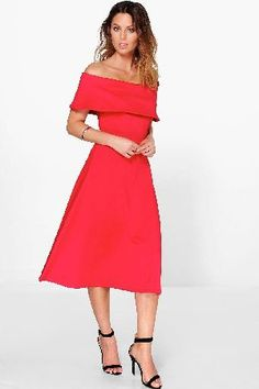 #boohoo Off Shoulder Oversized Midi Skater Dress - red #Get dance floor-ready in an entrance-making evening dressLook knock-out on nights out in figure-skimming bodycon fitsandcomma; flowing maxi lengths and stunning sequin-embellished occasion dresses. This season make for satin sheen slip dresses in mink nudesandcomma; and match lace trim cami dresses with barely-there heels for that cocktail-ready combo. If glitterball gowns arent your thingandcomma; take to the dance floor in a tux dress…