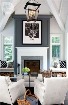 Paint An Accent wall! This is an easy way to draw the eye to your focal point. Here you see that the fireplace now stands out, and the black and white artwork above really pops!