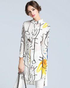 White Abstract Printed Slim Fit Silk Long Shirt, White, FLENKIY | VIPme