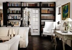Classic Black and White Decor Living Room + Library + Vintage + Shabby + Beachy - Beneath My Heart
