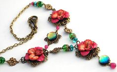 RESERVED Vintage Floral Necklace, Sculpted Flowers, Fused Glass, Green, Blue, Gold, Brass via Etsy