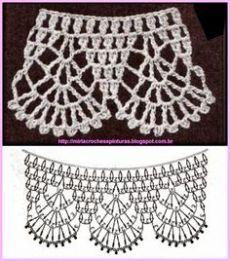 crochet edge for granny Crochet Collar Pattern, Col Crochet, Crochet Lace Collar, Crochet Edging Patterns, Crochet Lace Edging, Crochet Diagram, Basic Crochet Stitches, Crochet Chart, Filet Crochet