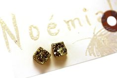Crystal druzy earrings. Made in Montreal . Available at Hello Yellow . www.hello-yellow.ca