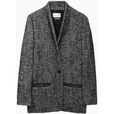 Isabel Marant Étoile Denver Short Herringbone Coat (£405) ❤ liked on Polyvore featuring outerwear, coats, jackets, coats & jackets, blazer, black coat, fuzzy coat, short wool coat, wool shawl and black wool coat
