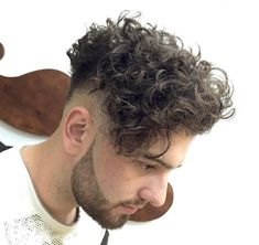 Image result for men's undercut curly hair