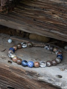 Adjustable jewelry, Healing stones Sodalite, Gobi Agate, Crystal Quartz Handmade Bracelets, Bracelets For Men, Beaded Bracelets, Quartz Crystal, Crystal Beads, Crystals, Agate Beads, Pouch Bag, Healing Stones