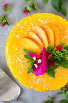 vegan mango ginger cheesecake top down