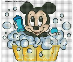 Schema baby minnie bagnetto by on deviantart minnie mouse (and mic Easy Cross Stitch Patterns, Cross Stitch For Kids, Simple Cross Stitch, Cross Stitch Baby, Cross Stitch Designs, Cross Stitching, Cross Stitch Embroidery, Mickey Mouse Art, Minnie Mouse