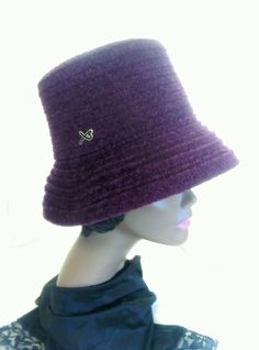 Vintage Betmar New York, Cloche Style, Purple Chenille, Warm Winter Classic Style Bucket Brim Hat, One Size. by cupidscloset on Etsy