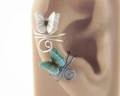 3D Butterfly Ear Cuff  Wire Wrapped Jewelry by SpotLightJewelry