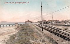 Trolley Tracks Once Ran Through the Beaches of Los Angeles. Along much of the Southern California coast from Santa Monica to Redondo and from Long Beach to Newport, a red dot—a distant Pacific Electric car—would appear down the shore. Orange County Beaches, Orange County California, California Coast, Southern California, Vintage California, Cities In Los Angeles, San Bernardino County, Riverside County, California History
