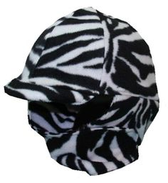 Zebra Fleece Equestrian Helmet Cover designed to fit over your helmet and keep your ears warm.  www.helmetcovers.com
