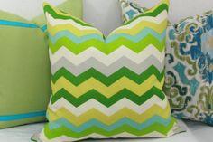 "Green  aqua chevron indoor/outdoor decorative throw pillow cover. 18"" x 18"" toss pillow. 18"" square accent pillow."