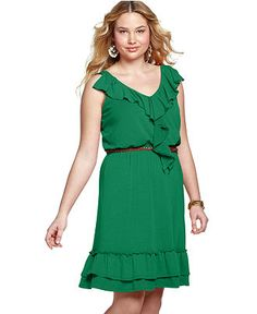 Love Squared Plus Size Dress, Sleeveless Ruffled Belted - Plus Size Dresses - Plus Sizes - Macy's