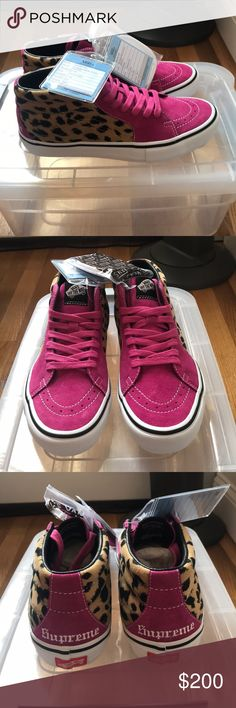 Supreme/Van Cheetah Print Hightops Cheetah/hot pink. Never worn, new samples with tags. Sample size says 8, but I'm a 9.5 US And they fit. Supreme Shoes Sneakers