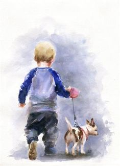 paintings of people Children and Dog Chihuahua watercolor painting ORIGINAL. Figurative art, painting of people. Watercolor Water, Watercolor Paintings, Original Paintings, Painting & Drawing, Simple Watercolor, Watercolor Artists, Painting Lessons, Oil Paintings, Figurative Kunst