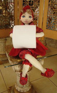 Bonecas de pano para banheiro. Bonecas porta papel higiênico. Soraia Flores.