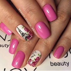 Drawings on nails, Eiffel Tower nails, Fashion nails 2017, Festive pink nails, Hardware nails, Manicure on a pink background, Nails ideas 2017, Painted nails