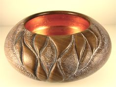Carved Walnut Bowl with Copper Leaf interior and Liming Wax to accent exterior texture. www.carmendelapaz.com  #wood #woodcarving #woodturning #woodsculpting #handcrafted #handmade #Walnut #woodturning #decor # art