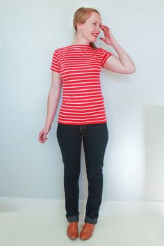 Introducing The Gable Top - A modern take on a classic slash neck top. Long line body and perfect made in all the stripes! Sewing Ideas, Sewing Projects, Sewing Patterns, Couture Sewing, Fashion Sewing, Sewing Clothes, Knits, Stripes, Style Inspiration