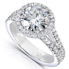 Round-Cut Moissanite and Halo Diamond Engagement Ring 2 2/5 Carat (ctw) in 14k White Gold
