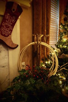 Cowboy Christmas - Western Decorations -  fireplace, boot stockings, rope  © Robin Workman