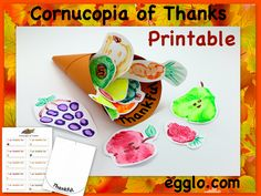 Cornucopia of Thanks for JESUS! Love this Thanksgiving craft! Kids have so much fun picking out fruits & veggies and then painting with them. Printables -thankful cards, Bible verses, cornucopia template & lesson. Egglo.com