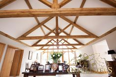 A sieries of oak trusses in a long dining room in a beautifully designed modern oak extension Dome House, House Design, Exposed Trusses, Timber Frame Homes, Home Design 2017, Timber Framing, Modern Design, Oak Framed Extensions, Timber Frame Building