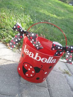 Personalized ladybug bucket