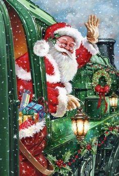 Christmas Train, Christmas Scenes, Christmas Past, Christmas Pictures, Christmas Crafts, Christmas Ideas, Vintage Christmas Cards, Vintage Cards, Christmas Paintings On Canvas