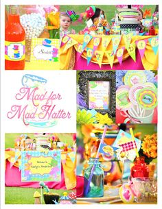 """Welcome to KROWN KREATIONS & CELEBRATIONS! Your guests are going to be simply """"Mad"""" over the newest party collection featuring our Mad Hatter Tea Party inspiration. The colors and graphics in this col Circus Birthday, Circus Party, Birthday Parties, Birthday Ideas, Circus Circus, 10th Birthday, Mad Hatter Party, Mad Hatter Tea, Alice In Wonderland Birthday"""