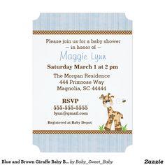 Blue and Brown Giraffe Baby Boy Shower Invitation