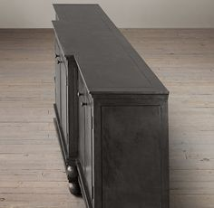 Zinc Media Console, get this color from Restoration Hardware...paint dark slate and glaze with browns or black, add metallic glaze in slate paint for added zinc effect!