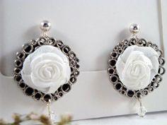 NO FEES-Classic white rosette post earrings $6.00