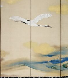 Detail. Cranes and Waves. Shibata Zeshin (Japanese, 1807 - 1891). Edo - Meiji period. c. 1850s. Japanese folding screen. Ink and color on gold paper