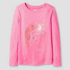 Girls' Long Sleeve Unicorn Graphic T-Shirt Cat & Jack™ - Dazzle Pink : Target
