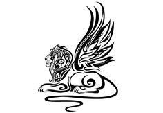 wings on a lion | Wall Decal - Lion Wings Tribal