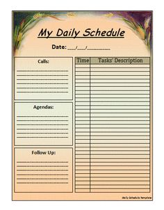 Free Printable Daily Routine Schedules | Daily Schedule Template | Nice Word Templates