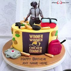 write name on pictures with eNameWishes by stylizing their names and captions by generating text on PUBG Birthday Cake with Name Generator with ease.