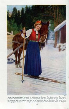 Norwegian Winter Sports Pretty Girl 1940's Original Antique Color Print