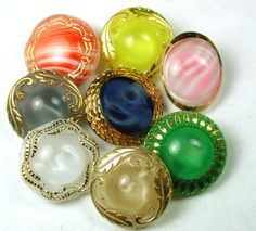 8 Vintage Moonglow Glass Buttons Various Colors w Gold Luster | eBay