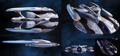 The Tempest-class was a type of Federation patrol escort starship in Starfleet service in the early century. These vessels were essentially heavily armed V.P craft, often carrying Admirals as their commanding officer and acted as a command craft. Spaceship Art, Spaceship Design, Spaceship Concept, Concept Cars, Scotty Star Trek, Star Terk, Star Trek Online, Starfleet Ships, Sci Fi Spaceships