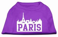Mirage Pet Products 18-Inch Paris Skyline Screen Print Shirt for Pets, XX-Large, Purple
