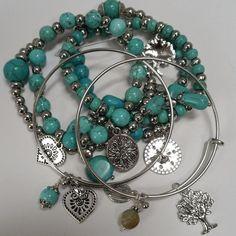 Expandable Bangle Bracelets Adjustable set 6 Family tree heart friend Love Charm