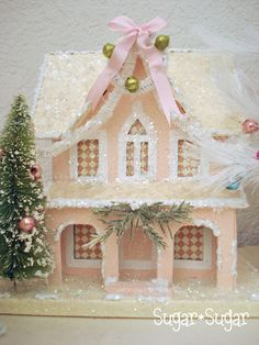 Pink Victorian--I need to do this!  Just bought a plain cardboard house!!!